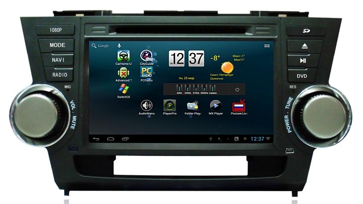 Штатное головное устройство ШГУ на Android 4 Toyota Highlander (2007-2014) X-Sound AS-8529HD